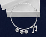 12 Music Note Retractable Charm Bracelets (12 Bracelets)