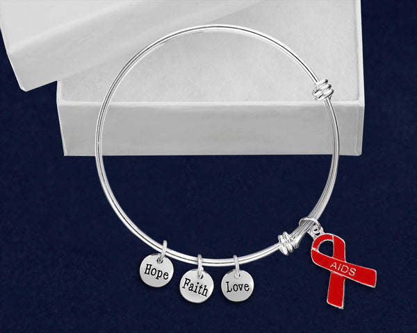 12 AIDS Red Ribbon Retractable Charm Bracelets (12 Bracelets)