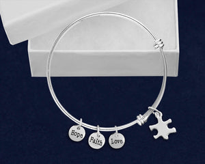 Small Autism Puzzle Piece Retractable Charm Bracelets - Fundraising For A Cause