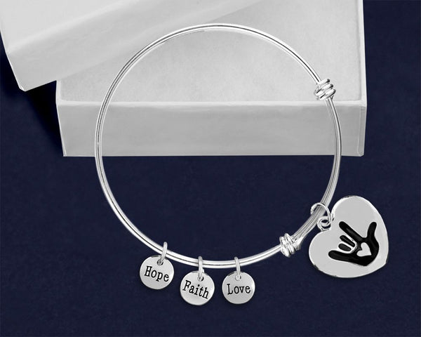 12 Deaf Awareness Retractable Heart Charm Bracelets (12 Bracelets)