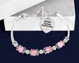 12 Breast Cancer Awareness Partial Beaded Bracelets (12 Bracelets)