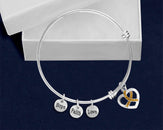Gold Crystal Ribbon Retractable Charm Bracelet