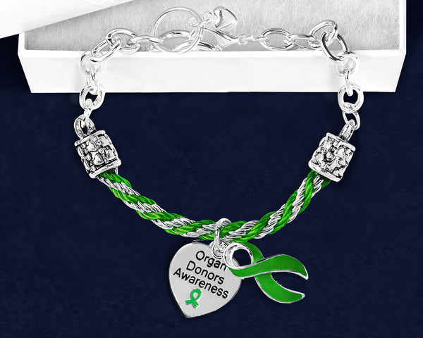 12 Organ Donors Green Ribbon Partial Rope Bracelets (12 Bracelets) - fundraisingforacausecom