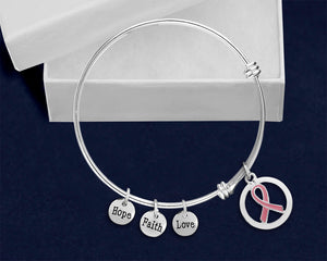 Silver Circle Pink Ribbon Retractable Bracelet - fundraisingforacausecom