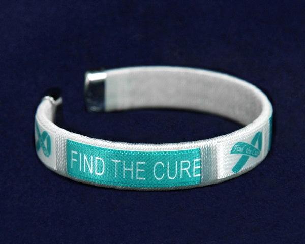 25 Child Teal Ribbon Cure Bangle Bracelets (25 Bracelets)