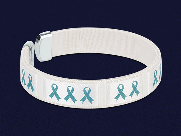 25 Teal Ribbon Awareness Ribbon Bracelets (25 Bracelets)