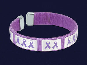 Purple Ribbon Bangle Bracelet