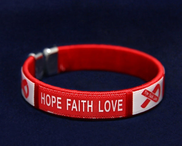 25 Adult Hope Red Ribbon Bangle Bracelets (25 Bracelets)
