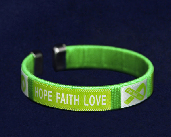 Hope Lime Green Ribbon Bangle Bracelet Child Size