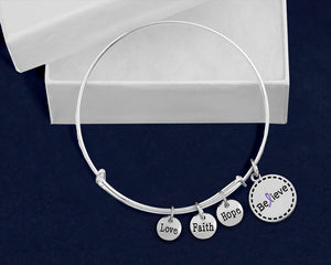 Believe Purple Ribbon Retractable Charm Bracelets - Fundraising For A Cause