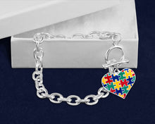 Load image into Gallery viewer, Autism Colored Puzzle Piece Heart Chunky Charm Bracelets - Fundraising For A Cause
