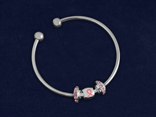 12 Open Bangle Breast Cancer Bracelets (12 Bracelets)