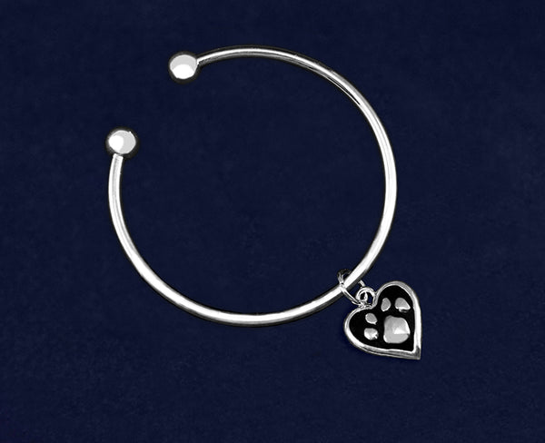 12 Paw Print Heart Charm Open Bangle Bracelets (12 Bracelets)