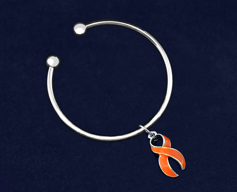 Orange Ribbon Charm Open Bangle Bracelets - Fundraising For A Cause