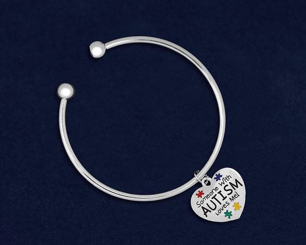 12 Someone With Autism Loves Me Open Bangle Bracelets (12 Autism Bracelets)