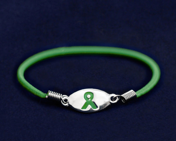 25 Green Ribbon Stretch Bracelets (25 Bracelets)