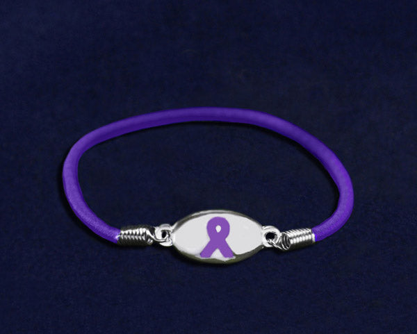 25 Purple Ribbon Stretch Bracelets (25 Bracelets)