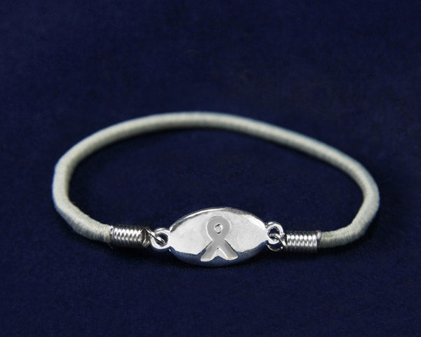 Stretch Gray Ribbon Bracelets, Diabetes Awareness - Fundraising For A Cause
