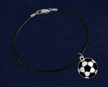 Load image into Gallery viewer, 12 Black Cord Soccer Ball Bracelets (12 Bracelets)