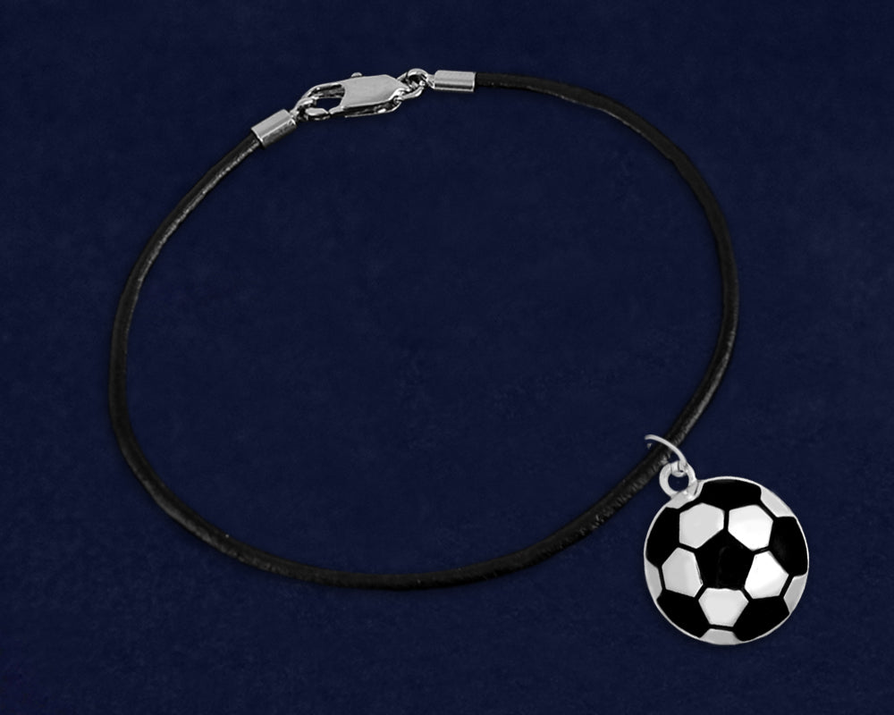 Black Leather Cord Soccer Ball Bracelets - Fundraising For A Cause