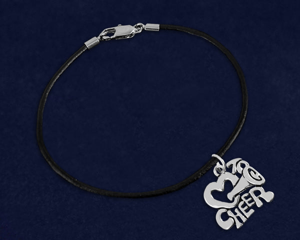 12 Black Cord I Love To Cheer Bracelets (12 Bracelets)