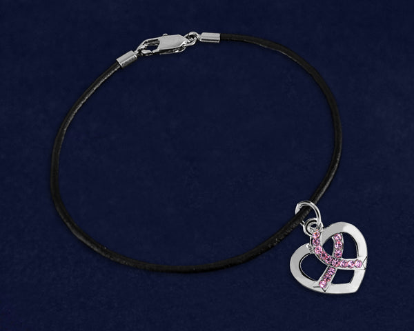 12 Pink Ribbon Crystal Heart Leather Cord Bracelets (12 Bracelets)