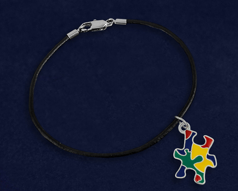 Autism Colored Puzzle Piece Leather Cord Bracelets - Fundraising For A Cause