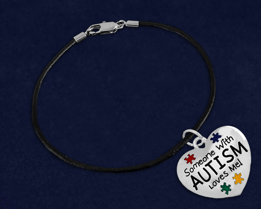 Someone With Autism Loves Me Leather Cord Bracelets - Fundraising For A Cause