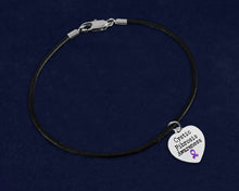 Load image into Gallery viewer, Cystic Fibrosis Awareness Black Leather Cord Bracelets - Fundraising For A Cause