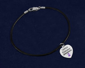Cystic Fibrosis Awareness Black Leather Cord Bracelets - Fundraising For A Cause