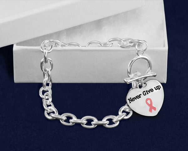 12 Never Give Up Pink Ribbon Chunky Charm Bracelets (12 Bracelets) - fundraisingforacausecom