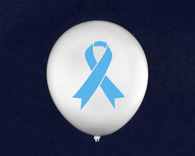 50 Light Blue Ribbon Balloons - White (50 Balloons)