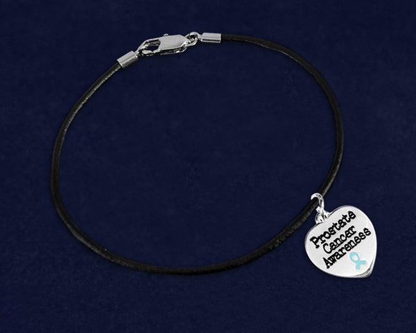 12 Prostate Cancer Awareness Heart Leather Bracelets (12 Bracelets)