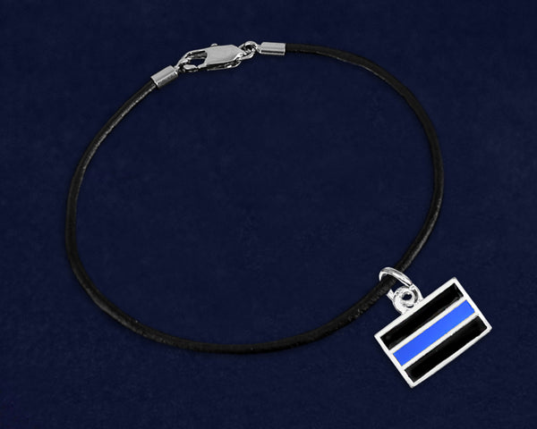 12 Black Cord Law Enforcement Blue Line Charm Bracelets (12 Bracelets)