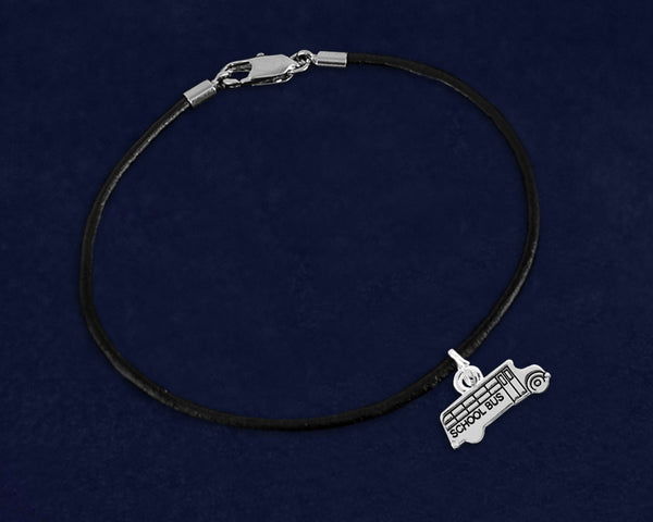 School Bus Charm on Black Cord Bracelet