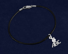 Load image into Gallery viewer, Black Leather Cord ABC Charm Bracelets - Fundraising For A Cause