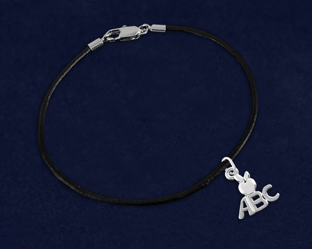 Black Leather Cord ABC Charm Bracelets - Fundraising For A Cause