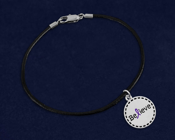 12 Round Believe Purple Ribbon Leather Cord Bracelets (12 Bracelets)