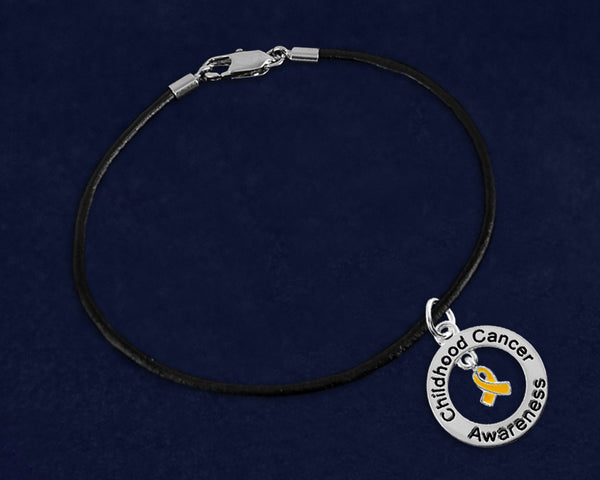 12 Childhood Cancer Awareness Black Leather Bracelets (12 Bracelets)