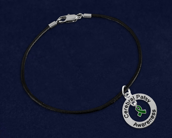 12 Cerebral Palsy Awareness Leather Cord Bracelets (12 Bracelets)