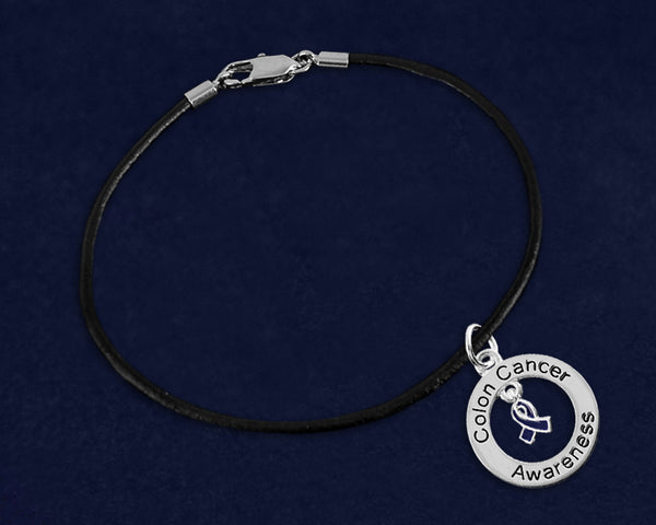 12 Colon Cancer Awareness Black Leather Cord Bracelets (12 Bracelets)