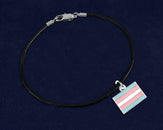 12 Black Cord Rectangle Transgender Bracelets (12 Pride Bracelets)