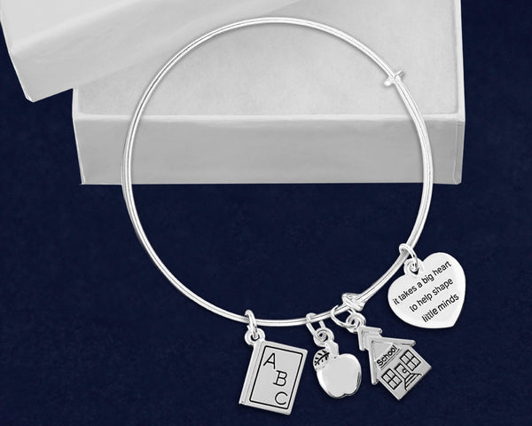 12 It Takes a Big Heart Retractable Charm Bracelets (12 Bracelets)