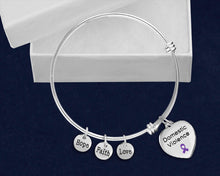 Load image into Gallery viewer, Domestic Violence Heart Purple Ribbon Retractable Charm Bracelets - Fundraising For A Cause