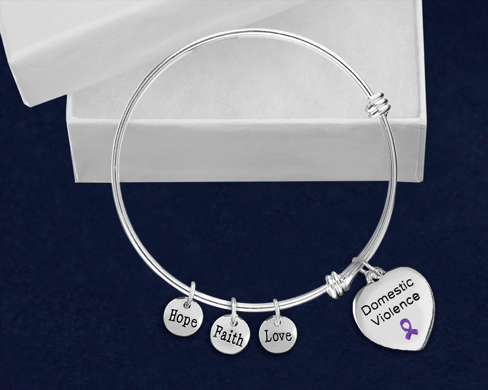 Domestic Violence Heart Purple Ribbon Retractable Charm Bracelets - Fundraising For A Cause