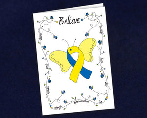 12 Butterfly Believe Blue & Yellow Ribbon Note Cards (12 Cards)