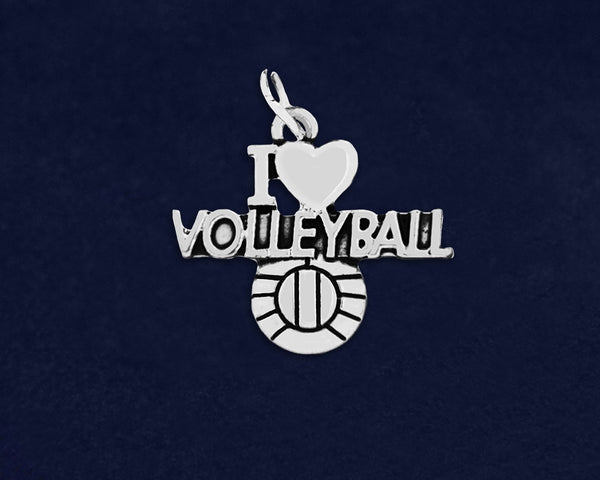 10 I Love Volleyball Charms (10 Charms)
