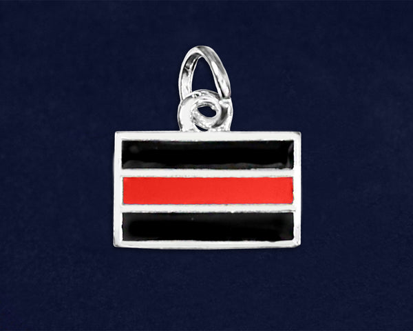 25 Firefighter Rectangle Red Line Charms (25 Charms)