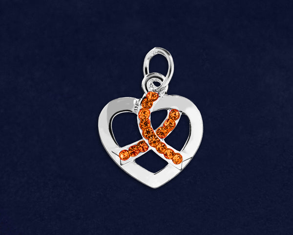 25 Silver Heart Crystal Orange Ribbon Charms (25 Charms)