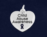 10 Child Abuse Awareness Heart Charms (10 Charms)